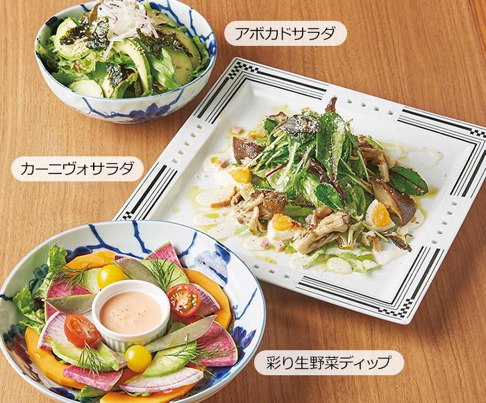 アボカドサラダ・カーニヴォサラダ・彩り生野菜ディップ